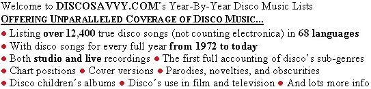 Welcome to DiscoSavvy.com's Year-By-Year Disco Music Lists